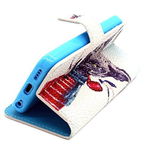 MOONCASE iPhone 5C Coque Portefeuille [Porte-cartes] Modèle Case Housse en Cuir Etui à rabat avec Béquille pour iPhone 5C -YX11 YX07