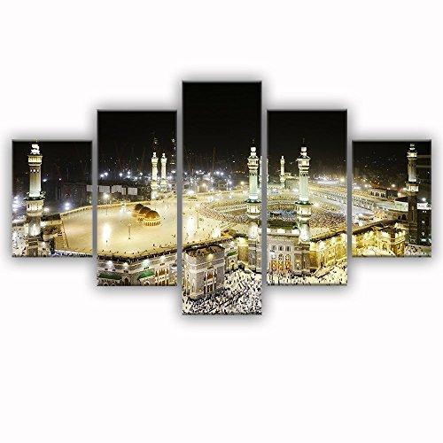 """VIIVEI 5pcs Ramadan Islam Allah-korans Bild auf Leinwand, moderne Heimdekoration Wandbild, Kunst, Dekoration für Wohnzimmer, gerahmt, bereit zum Aufhängen mit 60cm x B 32cm x H, 70"""" Wx40 H"""