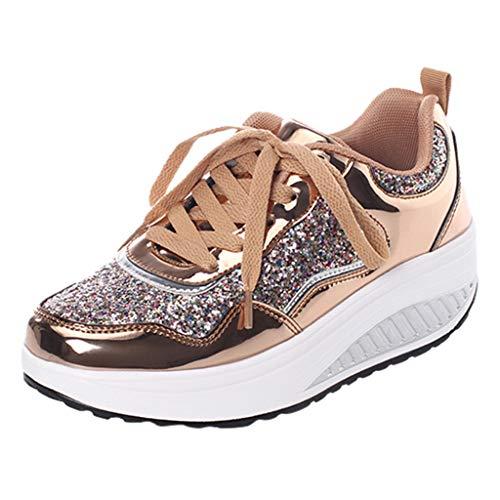 Anliyou Sportschuhe Damen Plateau Schuhe Sneakers Fitnessschuhe Outdoorschuhe Silber Gold Walkingschuhe Schnürschuhe mit Pailleten Herbst Winter Frühling Freizeitsschuhe Arbeitsschuhe