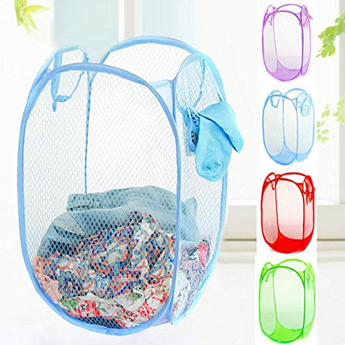 AMR Laundry Folding Net Mesh fabric bag, basket or organizer for dirty clothes or toys storage with side pockets - Set of 2 Pcs  available at amazon for Rs.244
