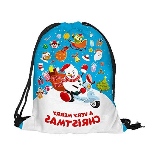 Zarupeng Weihnachten Bedruckte Bundle Taschen Rucksack Süßigkeiten Geschenk Tasche B