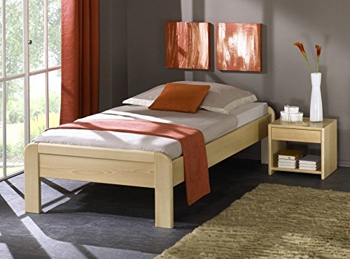 shogazi  Schlafkultur Seniorenbett MAINZ – dezentes Designerbett – Buche massiv, Größe:180x190cm