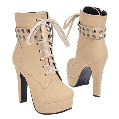 ENMAYER Femmes PU Matériau Sexy Round toe Zip Stiletto Talons hauts Plateforme Lace up Martin Ankle Boots Beige