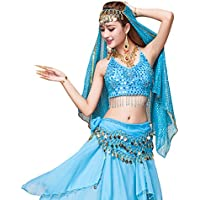 YiJee Mujer Oriental Danza Disfraz Danza del Vientre Tops+Belt+Pants+Veil