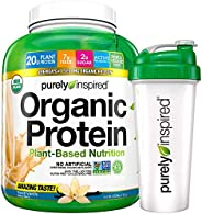 Purely Inspired Organic Protein Shake Powder + Shaker Bottle, 100% Plant Based with Pea & Brown Rice Prote