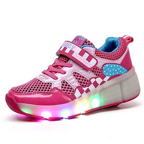 Vilocy LED Kinder Light Up Schuhe Sport Rollen Schuhe Auto Single Wheels Schuhe Rosa