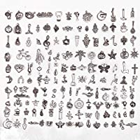 150-pack Bulk Lots Charms for Jewelry Making Supplies DIY Craft Material Accessories Bracelet Necklace Pendant Earring Tibetan Silver Wholesale (mixed-B 150pcs)