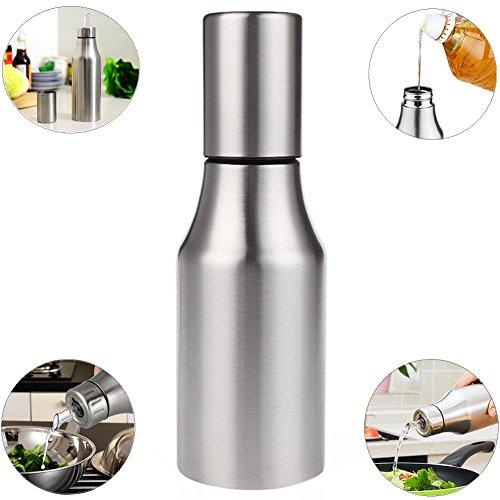Xuanlan Dispensador de aceite y vinagre Aceite de acero inoxidable Aceite/vinagre/salsa Cruet Botella de aceite a prueba de fugas con vertido Herramientas de cocina (750ML)