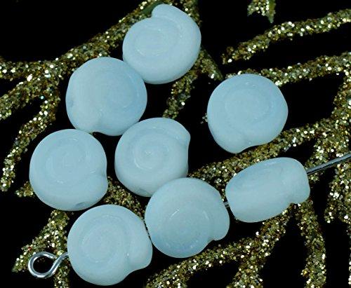 Bianco opaco Vetro ceco Conchiglie Perle di Vetro Ammonite Fossile Spirale Nautilus 9mm x 4mm 30pz