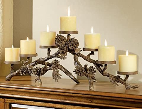 Metal Pinecone Candelabra by Black Forest Decor