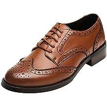 Rismart Mujer Brogue Dedo del Pie Puntiagudo Puntas De ala Oxfords Zapatos  De Cordones ad2a27c10985
