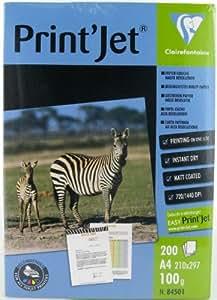 CLAIREFONTAINE Pqt de 200 Feuilles Papier couché Jet d'encre High resolution 100g A4 21x29,7 cm