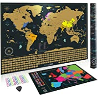 Scratch Off World Map Poster + BONUS Europe Map, Accessories and Gift Packaging | Detailed Travel Map with Landmarks, Country Flags and Vibrant Colours | 61 x 43 CM | The Perfect Gift for Christmas
