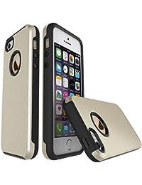 iPhone SE 5SE 5 5S Funda,TOTOOSE Doble capa TPU + PC Híbrido de Textura Cepillada Fibra de Carbon Slim Fit Cáscara No Slip Shockproof Case Full Protective Cubrir para iPhone SE 5SE 5 5S Dorado