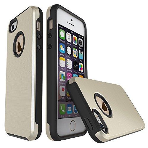 Migliore Choise Back Cover per iPhone 55S & SE Case Dual Layer 2in 1Hybrid Hard PC Soft TPU antiurto Ammortizzatore a regalo perfetto gold