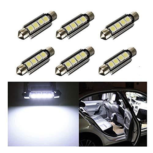 Inlink, 6 luci interne per auto, Canbus, 5050 4-SMD a LED, 42 mm, lampadine auto, 6411 578 a LED per interni auto, lampadine per interno auto o portab