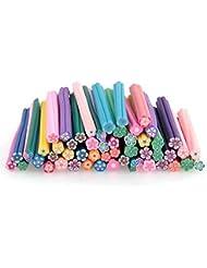 SODIAL(R) 50x 5cm Batons en Fimo 3D Fleurs multicolores decoration d'ongles DIY