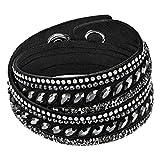 Swarovski Damen-Armreif Edelstahl Leder Kristall silber Marquiseschliff-5225974