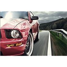 POSTERLOUNGE Cuadro sobre lienzo 60 x 40 cm: Red Mustang de Editors Choice - cuadro terminado, cuadro sobre bastidor, lámina terminada sobre lienzo auténtico, impresión en lienzo
