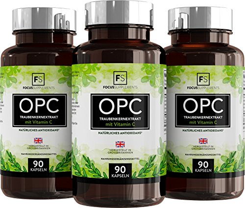 Focus Supplements OPC Traubenkernextrakt - 300 mg mit 40 mg Vitamin C pro, 90 Kapseln (Polyphenol Haut Tropfen)