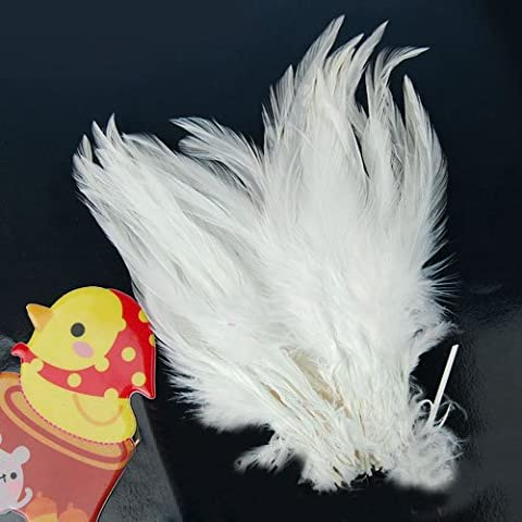 Plume Blanche - Plumes de Coq Teintes 3-4 pouces -