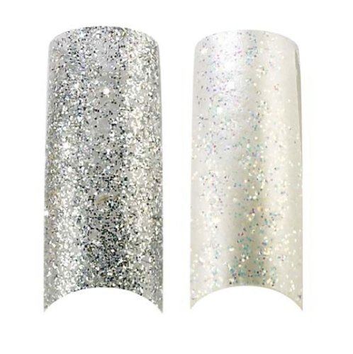 x2 Pack of 100 Capsule d'Ongles Professionel Paillettes Cala Argente & Blanc Perle (87821,87823) + Kit d'Ongles Aviva