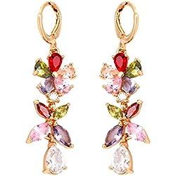 Crunchy Fashion Jewellery 18K Rose Gold Plated AAA Swiss Cubic Zirconia Stylish Party Wear Drop Earrings For Women & Girls