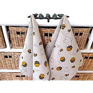 Handgefertigt Leinen Baumwolle Fleißige Bienen Geschirrhandtuch Küchenhandtuch Geschirrtuch – Handmade Linen Cotton Busy Bees Tea Towel Kitchen Towel Dish Towel