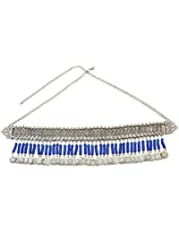 Idealway Bohemian Silver Body Chain Hollow Out Flower Waist Belly Chain for Women Jewelry
