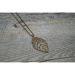 Lange filigrane Kette mit Blattanhänger Blatt bronze nickelfrei Messing Schmuck handmade Wolkenfabrik Kettenlänge 50cm