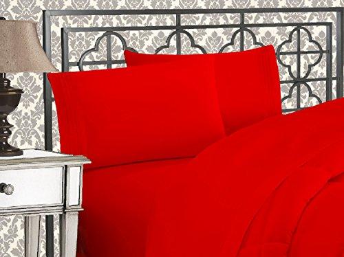 Eleganten Komfort 1500Fadenzahl Ägyptische Qualität 4-teilig Bett-Sets mit tiefen Taschen, Full, rot (Red-queen-blatt Set Tiefe Taschen)