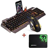 urchoiceltd® 2016Ajazz Batalla hacha Colorful Rainbow Fondo Multimedia ergonómico USB Gaming Teclado + Ratón + Negro Templo Mousepad Teclado Ratón Set