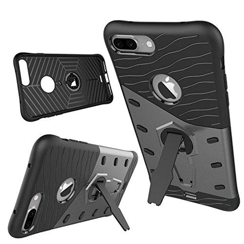 Meimeiwu TPU Custodia antiurto Armour Dual Layer armatura Con Kickstand per Iphone 7 Rosso Nero