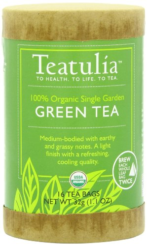 3M Teatulia Organic Single Garden Green Tea, 16 Count Whole Leaf Pyramid Teabags