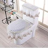 CHEMGMEI Tappetino da Bagno Tappetino da Bagno Stampa 3D Fodera Antipolvere Cerniera in Tessuto Universale Tappetino da toletta per la casa Tre Set di Cuscini Sedile per WC Semplice