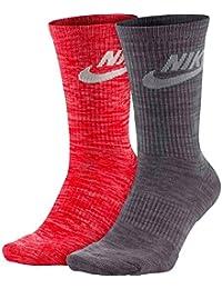 Nike Socken – Sportswear Advance Crew (2 Pair) rot/grau/weiß Größe: 42 bis 46 EU I 8-12 USA I 8-11 UK