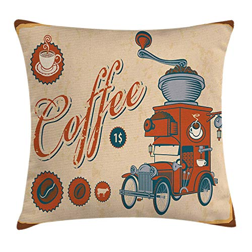 K0k2t0 Vintage Throw Pillow Cushion Cover, Artsy Commercial Design Truck with Coffee Grinder in Old-Fashioned Color, Decorative Square Accent Pillow Case, 18 X 18 inches, Cream Orange Grey Rose Coffee Grinder