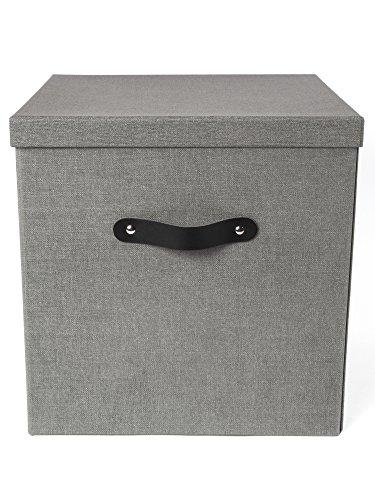 Bigso Box of Sweden Aufbewahrungsbox mit Deckel - große Klappbox für Kleidung, Spielzeug usw. - Ordnungsbox mit Griff aus Faserplatte und Papier mit Leinenoptik - grau (Papier-boxen Deckel Mit)