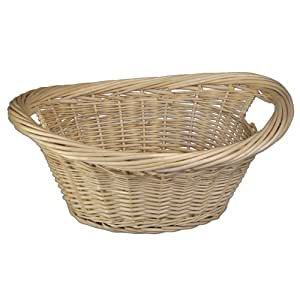 JVL Laundry Basket White Willow with Inset Handles 60 x 45 x 25 cm