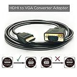 Phoebe168Câble HDMI vers VGA Converter, 1,8m/1.8m HDMI mâle vers VGA mâle D-Sub 15broches M/M connecteur câble adaptateur, HDMI vers VGA One-Way prise en charge Full 1080p câble de transmission