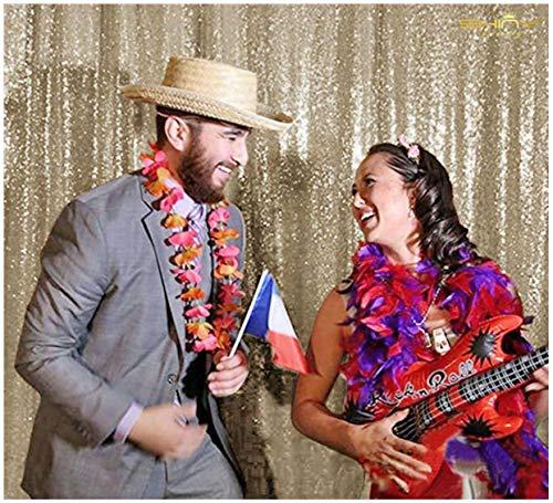 ShinyBeauty Hintergrund Hochzeit Beste Wahl 125x245cm Licht Gold Pailletten Pailletten Foto Hintergrund, Photo Booth Kulisse, Fotografie Hintergrund, DIY Photobooth, Zeremonie Kulisse, eines Tages versandfertig