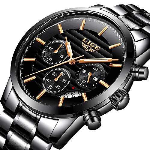Orologio da uomo,lige acciaio inossidabile cronografo sportivo analogico al quarzo orologi impermeabile quadrante nero data calendario moda casuale lusso orologi da polso rosa oro nero