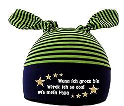 KLEINER FRATZ Baby 2-Zipfel Mütze (Farbe navy-lime) (Gr. 1 (KU: 35-42) (Gr. 56-74) Wenn ich gross bin werde ich so cool wie Papa