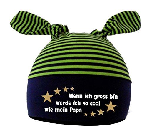 Baby 2-Zipfel Mütze (Farbe navy-lime) (Gr. 1 (KU: 35-42) (Gr. 56-74) Wenn ich gross bin werde ich so cool wie Papa