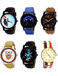 NIKOLA New Collegian Mahadev Beard Style Black Blue And Brown Color 6 Watch Combo (B22-B47-B18-B54-B23-B50) For...
