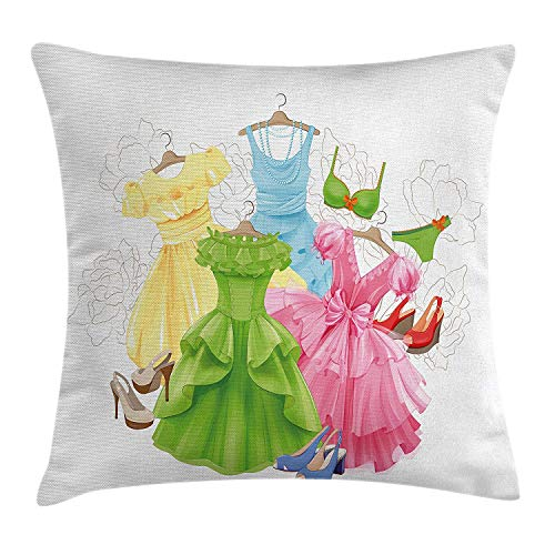 Bow Accent Heels (MLNHY Heels and Dresses Throw Pillow Cushion Cover, Princess Outfits Bikini Shoes Wardrobe Party Costumes in Girls Design, Decorative Square Accent Pillow Case, 18 X 18 inches, Multicolor)