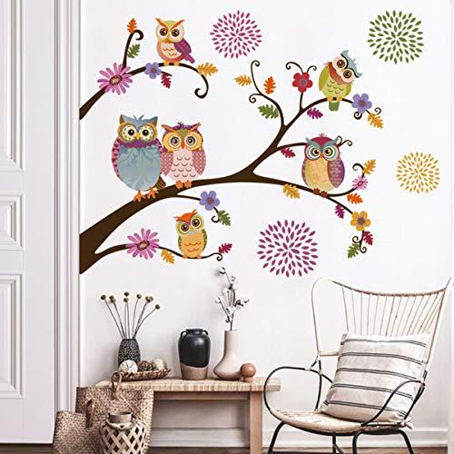 decalmile Pegatinas de Pared Búho Arboles Rama Vinilos Decorativos Flores Adhesivos Pared Guardería Habitación Infantiles Niños Bebés Dormitorio