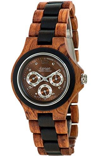 Holzuhr TENSE Mens Northwest Premium Herren-Uhr G4300RD-BR - Nat&uumlrliches Rosenholz/Sandelholz G4300RD-BR