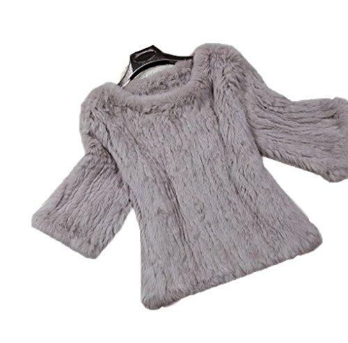 Saoirse Mode Damen 100% Echter Kanichen Pelz 7/10 Hülse H& Kintted Mantel Jacke Kaffee
