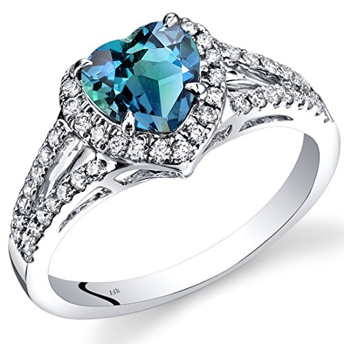 Revoni 14ct White Gold Created Alexandrite Diamond Halo Ring Heart Shape 1.90 Carats Total
